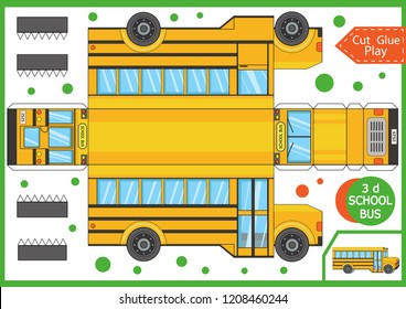 Cut and glue the paper a cartoon school bus. Worksheet with funny education riddle. Children art game. Kids crafts activity page. Create toys yourself. Birthday decor. Vector illustration.