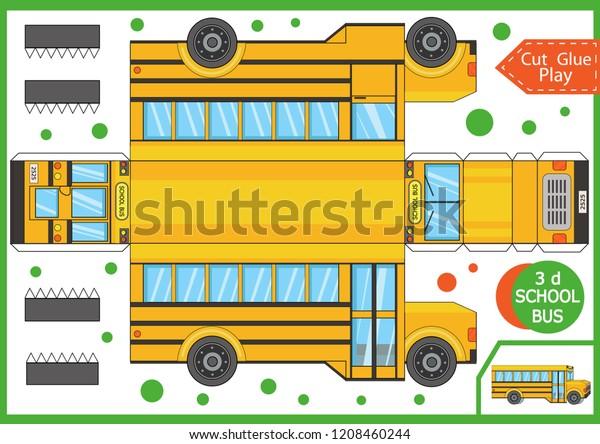 Kagidi Bir Karikatur Okul Otobusu Kesin Stok Vektor Telifsiz