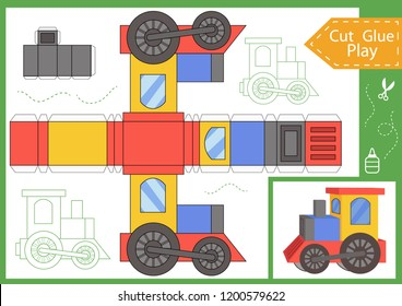 Cut and glue the paper a cartoon train. Worksheet with funny education riddle. Children art game. Kids crafts activity page. Create toys yourself. Birthday decor. Vector illustration.