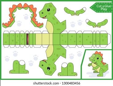 Cut and glue the paper a cute dinosaur. Worksheet with funny education riddle. Children art game. Kids crafts activity page. Create toys yourself. Birthday party decoration. Vector illustration.