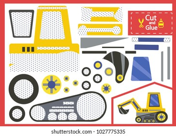 Cut and glue the paper excavation tractor. Children funny riddle entertainment and amusement. Kids art game and activities jigsaw. Create toys the cartoon tractor yourself. Vector illustration.