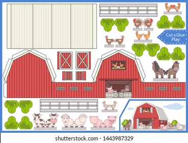 Cut and glue the paper a farm. Worksheet with funny education riddle. Children art game. Kids crafts activity page. Create toys yourself. 3d gaming puzzle. Birthday decor. Vector illustration.