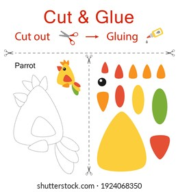 Cut and glue is the paper game for the development of preschool children. Cut parts of the image and glue on the paper. Parrot. Vector illustration in flat style