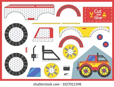 Cut and glue the paper off-road car. Children funny riddle entertainment and amusement. Kids art game and activities jigsaw. Create toys car yourself. Vector illustration.