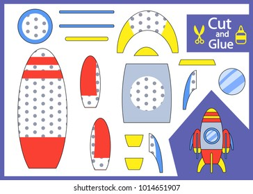 Cut and glue the paper rocket. Children funny riddle entertainment and amusement. Kids art game and activities jigsaw. Create toys spaceship yourself. Vector illustration.