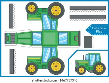 Cut and glue the paper a tractor. Crafts activity page. Worksheet with funny education riddle. Children art game. Create toys. 3d gaming puzzle. Farm tractor birthday decor. Vector illustration.