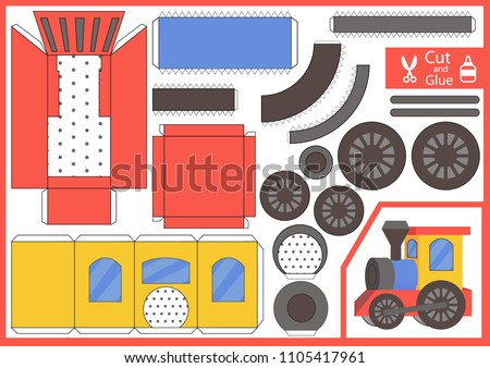 Cut Glue Paper Train Kids Craft Stock Vector Royalty Free