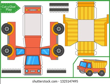 Cut and glue a paper truck. Worksheet with funny education riddle. Children art game. Kids crafts activity page. Create paper car. 3d gaming puzzle. Vector illustration.