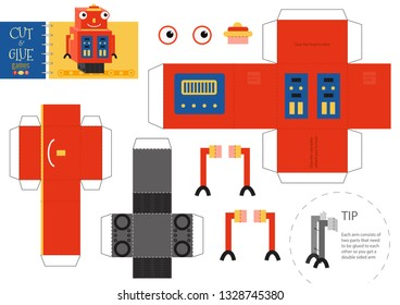Cut and glue robot toy vector illustration. Paper craft and do it yourself worksheet with funny robotic character for preschool kids. Cutout activity for children