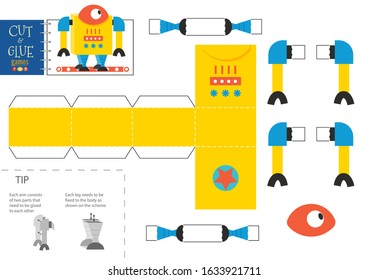 Cut and glue robot toy vector illustration. Paper craft and educational worksheet with funny yellow robotic character for preschool kids. Hobby or cutout activity for children