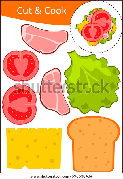 Make The Cut >> Cut Glue Worksheet Make Sandwich Stock Vector Royalty Free