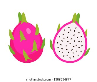 cut half and whole dragon fruit, Summer tropical fruit, cartoon flat icon, vector illustration sketch isolated on white background