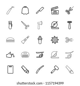 Cut icon. collection of 25 cut outline icons such as razor, electric razor, hairdresser peignoir, straight hair, cutting board. editable cut icons for web and mobile.