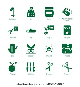 cut icons. Editable 16 cut icons. Included icons such as Hairdryer, Tax, Butter, Movie Clapper Open, Scissors, Log, Coupon, Import, Puzzle, Orange, Knives. cut trendy icons for web.
