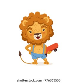 Cut kid lion cartoon character wearing shorts on suspenders and holding skateboard. Playful baby animal with lush mane. Vector illustration