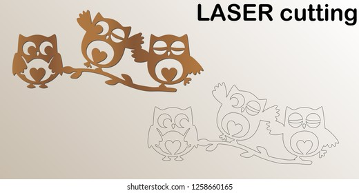 Cut laser owls on the branch for interior. Template laser cutting machine for wood and metal. The perfect for children room.
