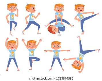Cut little boy doing physical exercises. Funny cartoon character. Vector illustration. Isolated on white background