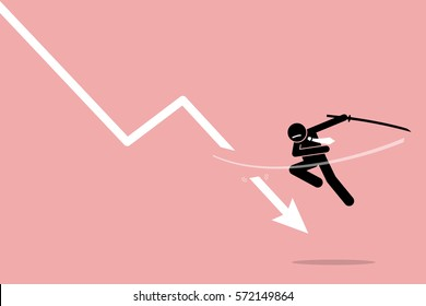 Cut loss. Vector artwork depicts stock market strategy by stopping losses.