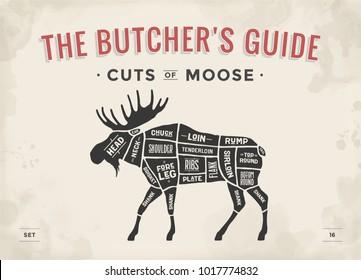 Cut of meat set. Poster Butcher diagram, scheme - Moose. Vintage typographic hand-drawn moose silhouette for butcher shop, restaurant menu, graphic design. Meat theme. Vector Illustration