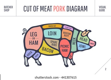 Cut of meat set. Poster Butcher diagram, scheme and guide - Pork. Colorful vintage typographic hand-drawn on white background for butcher shop. Vector illustration