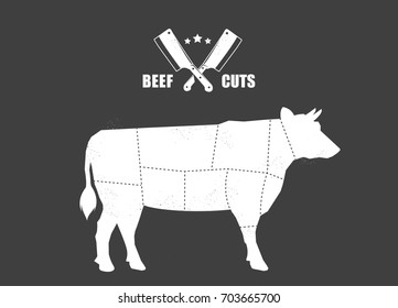 Cut of meat set. Poster Butcher diagram, scheme and guide - Beef.
