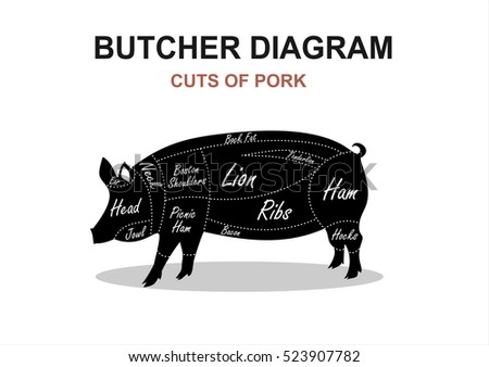 Cut Meat Set Poster Butcher Diagram Stock Vector Royalty Free