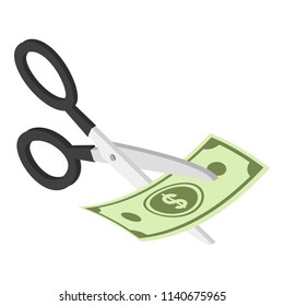 Cut money icon. Isometric of cut money vector icon for web design isolated on white background