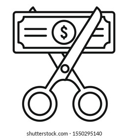 Cut money tax icon. Outline cut money tax vector icon for web design isolated on white background