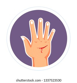 Cut on hand injury bleeding scratch skin damage isolated icon medicine and healthcare open wound blood running and treatment trauma infection prevention palm pain or ache disinfection cutting