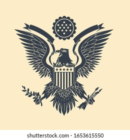 Cut out American Eagle Emblem Vector Illustration