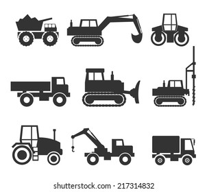 Cut Out Black Construction Machinery Icon Symbol Graphics on White