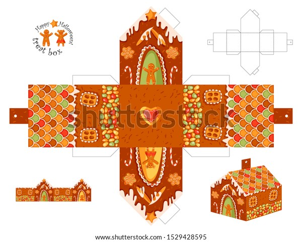 gingerbread house box template  Cut Out Box Template Gingerbread House Stock Vector (Royalty ...
