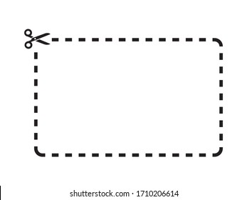 Cut out coupon rectangle shape with scissors icon.Coupon rectangle Template on white background drawing by illustration