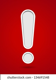 Cut out hole exclamation sign on red background