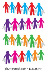 Cut out human with different colors on white background. Vector illustration.