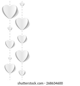 Cut out paper hearts background for wedding, romantic cards. White-on-white, pop up style. Vector Illustration EPS10.