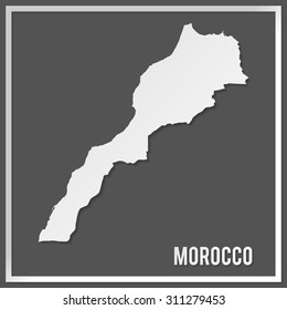 Cut out paper vector map of Morocco on dark background. Papercut style country map. 3d vector map illustration with smooth vector shadows and white map.