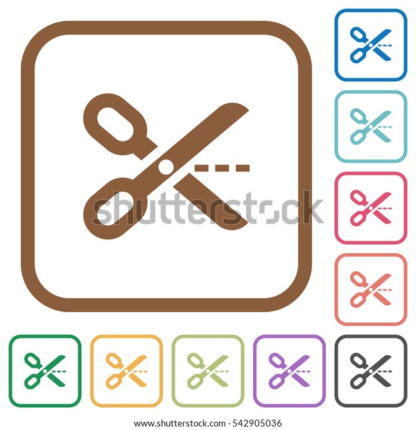 Cut out simple icons in color rounded square frames on white background