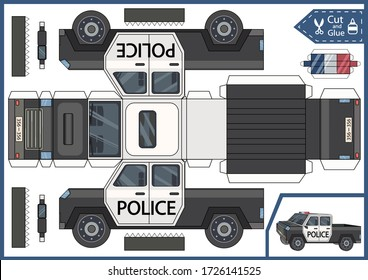 Cut paper 3d a police car. Diy papercraft project. Worksheet for kids craft. Education children activity page. Birthday decor. Vector illustration.