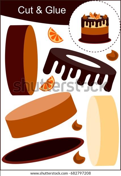 Cut Paste Worksheet Chocolate Cake Orange Stock Vector (Royalty Free
