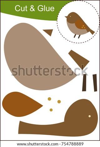 cut paste worksheet sparrow stock vector royalty free 754788889