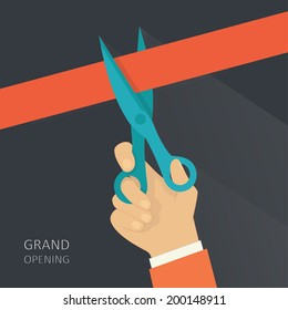 Cut ribbon opening ceremony. Vector illustration