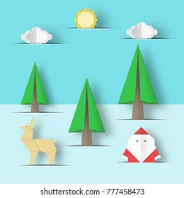 Cut Santa Claus, deer, tree in paper pockets origami Christmas nature scene. Childish abstract Xmas applique concept with cutout fragments for papercut templates. Vector Illustrations Art Design.