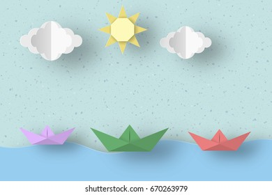 Cut Ships, Clouds, Sun for Paper Origami Concept, Applique Scene. Childish Cutout Template with Elements, Symbols. Toy Landscape for Card, Poster. Vector Illustrations Art Design.