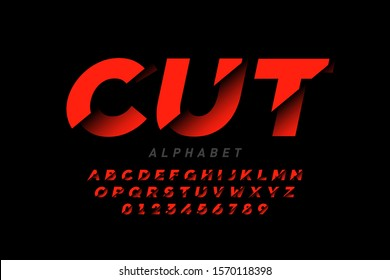 Cut style font design, alphabet letters and numbers, vector illustration