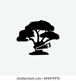 cut tree icon vector