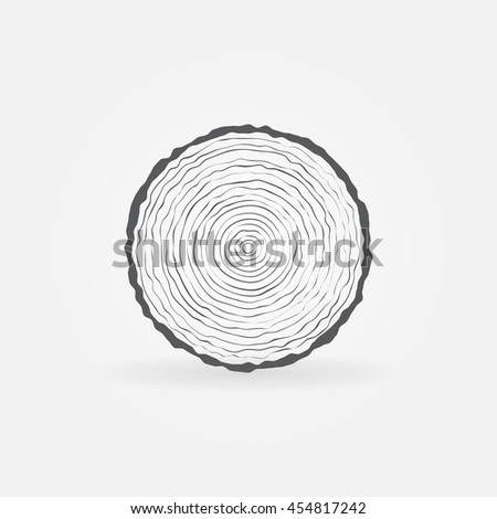 Cut Tree Trunk Icon Vector Minimal Stock Vector Royalty Free