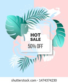 Cut vector abstract design banner with tropical leaves and 3d frame