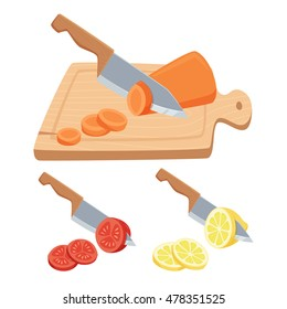 Cut vegetable and fruit set. ?hop with a knife on a cutting board carrots, tomatoes, lemon. Cooking process vector illustration. Kitchenware and utensils isolated on white.