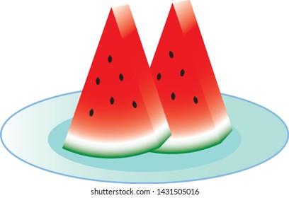 Cut water melon put on dish